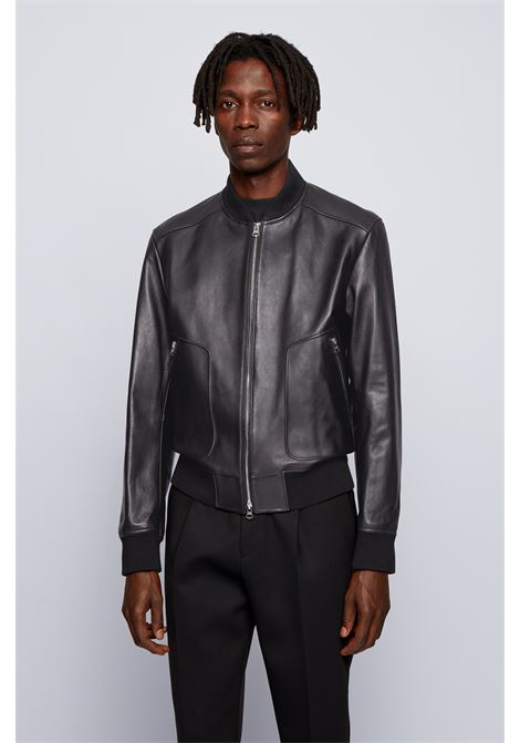Leather jacket with rib knit BOSS | Jackets | 50448927001