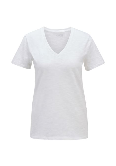 Regular fit white T-shirt with V-neck in slub-yarn cotton BOSS | T-shirt | 50449152100