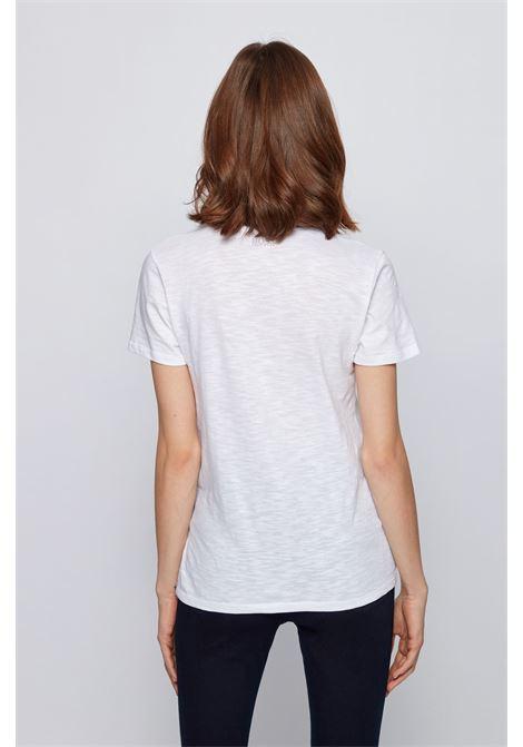 T-shirt bianca regular fit con scollo a V in cotone slub-yarn BOSS | T-shirt | 50449152100