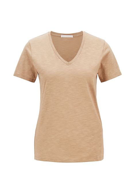 Regular fit beige T-shirt with V-neck in slub-yarn cotton BOSS | T-shirt | 50449152262