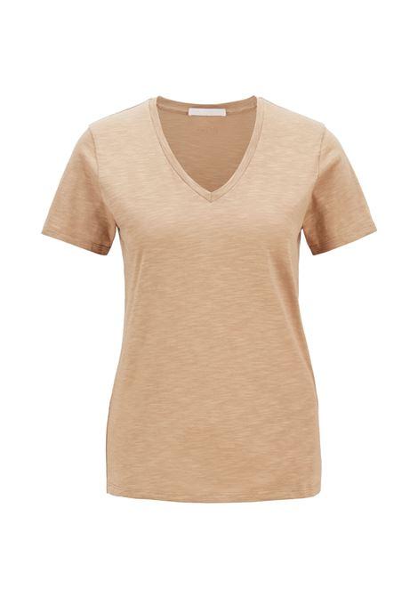 T-shirt beigeregular fit con scollo a V in cotone slub-yarn BOSS | T-shirt | 50449152262