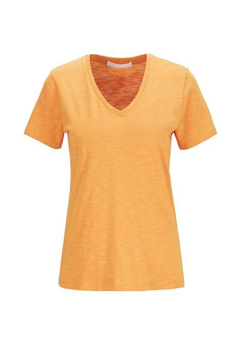 Regular fit yellow T-shirt with V-neck in slub-yarn cotton BOSS | T-shirt | 50449152755