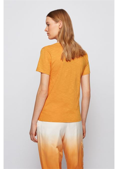 T-shirt gialla regular fit con scollo a V in cotone slub-yarn BOSS | T-shirt | 50449152755