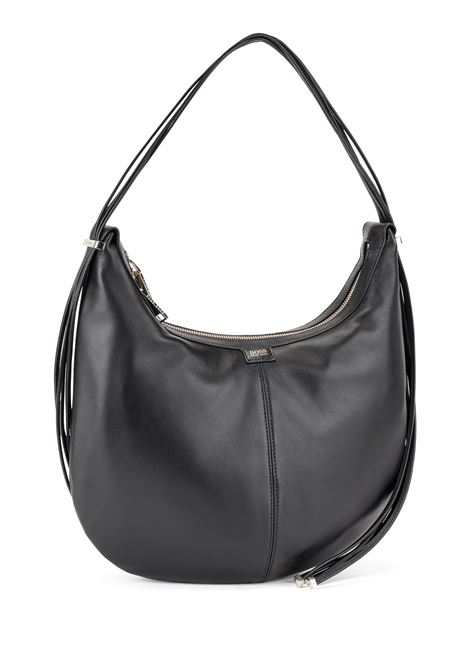 Hobo bag in nappa leather with shiny metal finishes BOSS | Bags | 50449153001