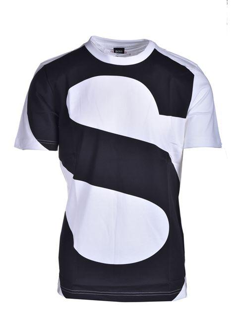 T-shirt in cotone mercerizzato con logo all over BOSS | T-shirt | 50449450130