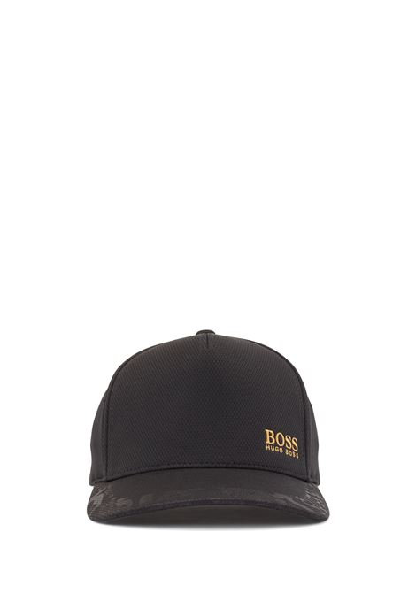 Black hat in honeycomb jersey with golden logo BOSS | Hats | 50449563001