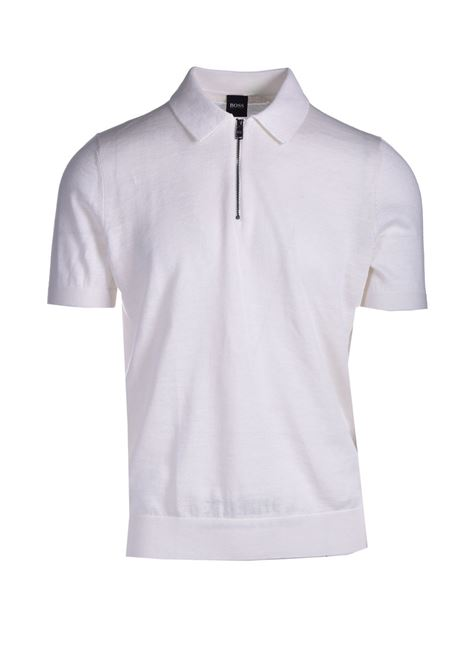 Short-sleeved polo-style shirt with zip collar BOSS | Knitwear | 50449958100