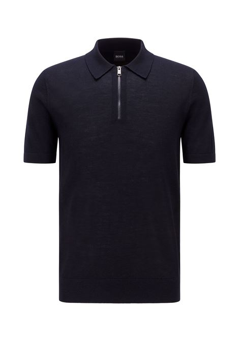 Short-sleeved polo-style shirt with zip collar BOSS | Knitwear | 50449958402