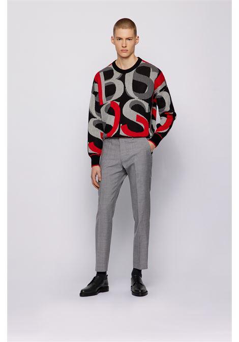 High-waisted slim fit trousers in virgin wool BOSS   Pants   50450190030
