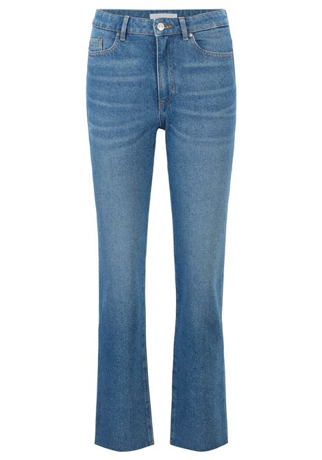 Jeans regular fit cropped in denim blu bicolore BOSS | Jeans | 50450193434