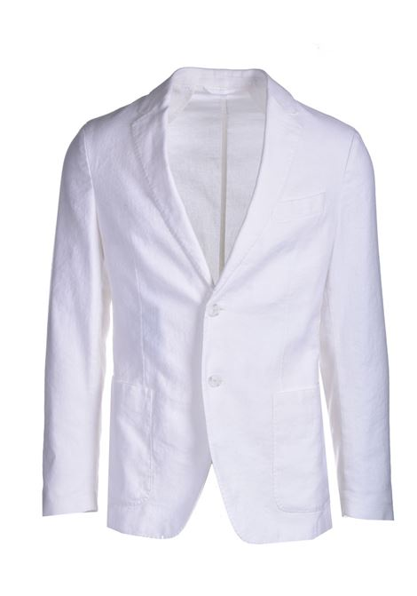 Slim fit jacket in cotton and linen with two buttons BOSS | Blazers | 50450238100