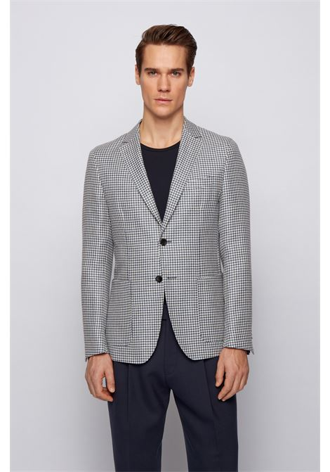 Slim fit jacket in virgin wool and pied de poule linen BOSS | Blazers | 50450486489