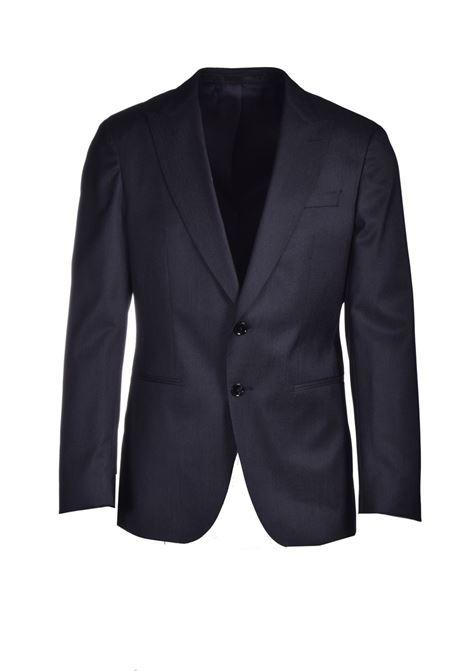 Abito slim fit in lana vergine e seta a motivi blu scuro BOSS | Abiti Uomo | 50450500001