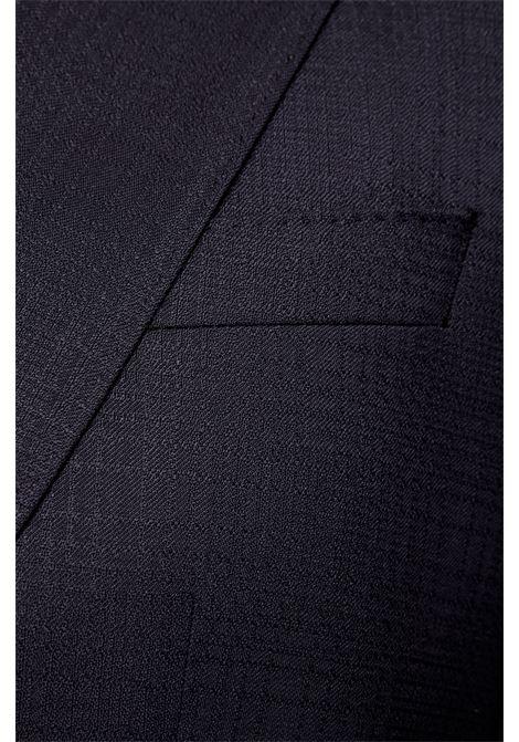 Abito slim fit in lana vergine a motivi blu scuro BOSS | Abiti Uomo | 50450502402