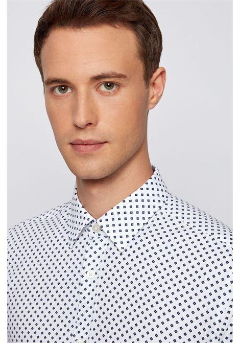 Slim fit cotton dobby shirt with geometric print BOSS | Shirts | 50450758489