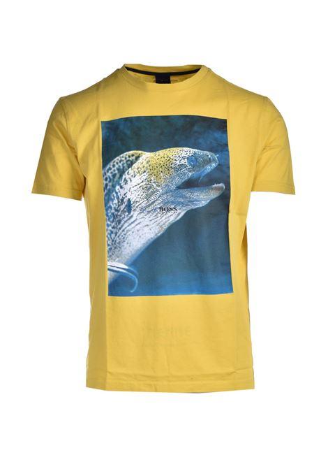 T-shirt in jersey di cotone con stampa di un ambiente sottomarino BOSS | T-shirt | 50450911736