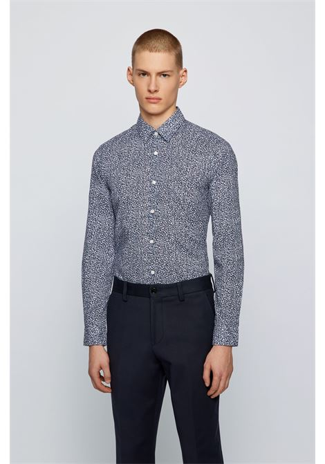 Regular fit shirt in washed effect cotton with exclusive pattern BOSS | Shirts | 50450944402