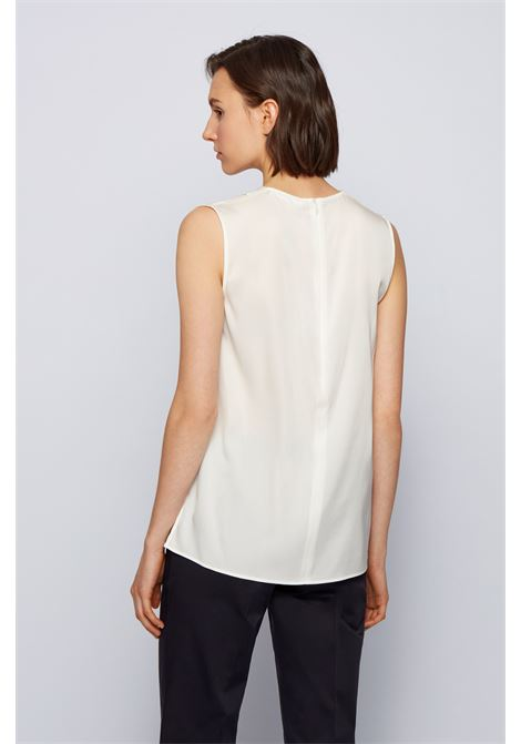 Sleeveless blouse in crêpe de chine with V-neck BOSS | Tops | 50451281112