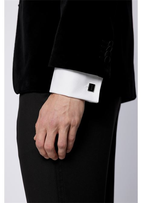 Rectangular cufflinks with curved frame and black enamelled logo insert BOSS | Cufflinks | 50451536001