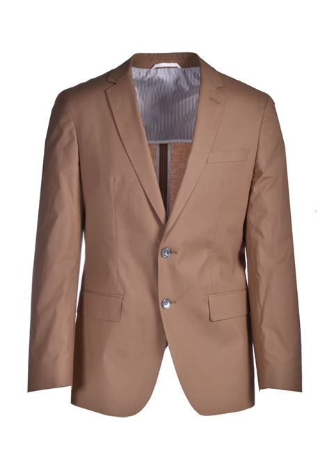 Slim fit jacket in stretch cotton with contrasting profiles BOSS | Blazers | 50453186268