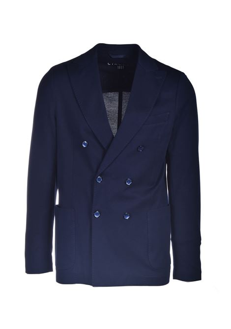 Double-breasted blazer in blue cotton pique CIRCOLO 1901 | Blazers | CN2964447