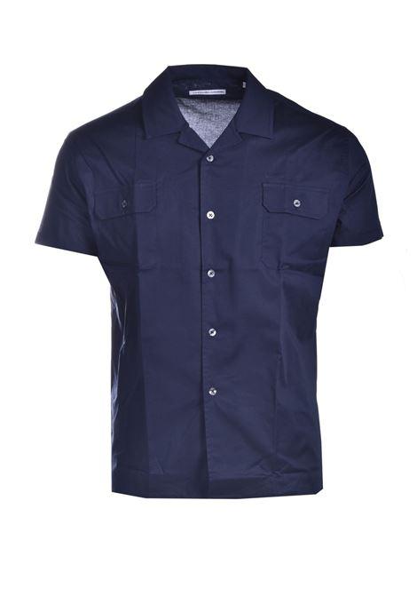 Blue short-sleeved cotton shirt DANIELE ALESSANDRINI | Shirts | C1792B751410023