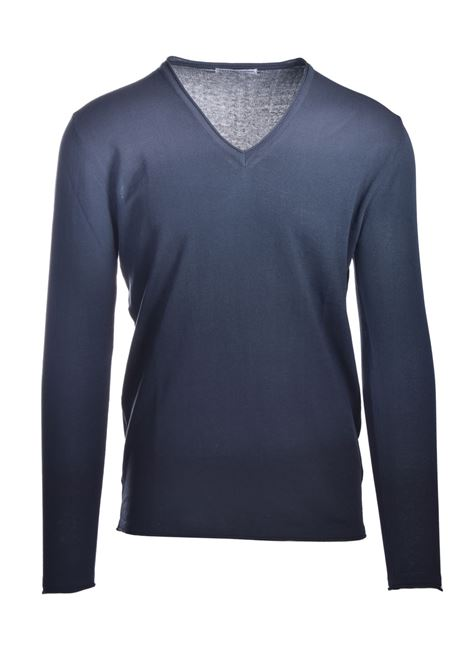 Shaded cotton sweater with V-neck DANIELE ALESSANDRINI | Knitwear | FM9075041001