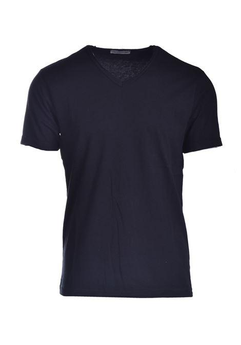T-shirt con taglio vivo e scollo a V DANIELE ALESSANDRINI | T-shirt | M7319E64341021