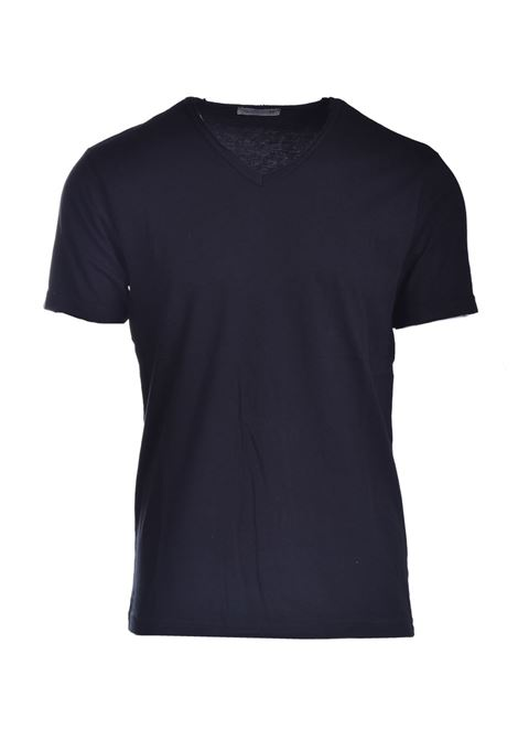 Raw cut T-shirt with V-neck DANIELE ALESSANDRINI | T-shirt | M7319E64341021