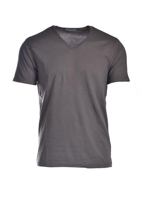 Raw cut T-shirt with V-neck DANIELE ALESSANDRINI | T-shirt | M7319E6434102133