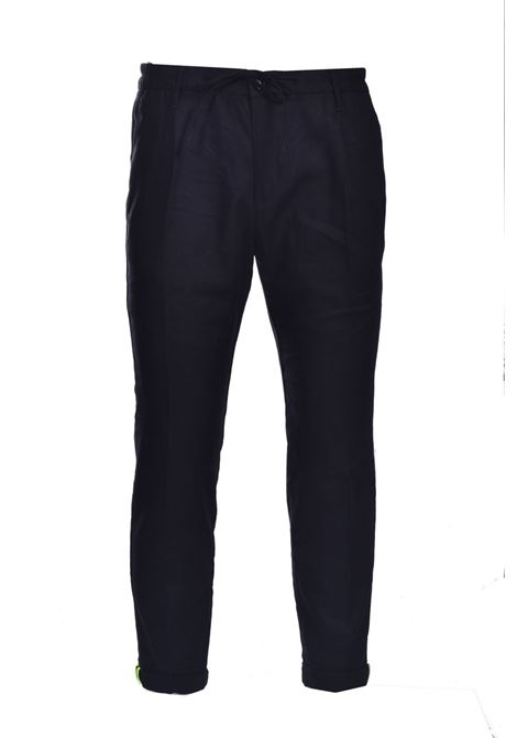 Linen trousers with elastic and turn-up DANIELE ALESSANDRINI | Pants | PM03941021