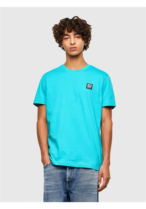 T-shirt azzurra con applicazione logo D DIESEL | T-shirt | A00356 0AAXJ5II