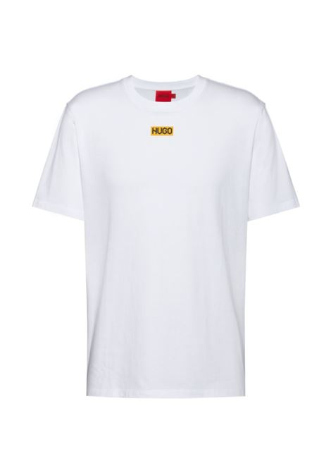 T-shirt regular fit in cotone biologico con logo al centro HUGO | T-shirt | 50448779100