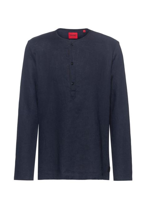 Garment-dyed linen oversize shirt with Henley collar HUGO | Shirts | 50450760405