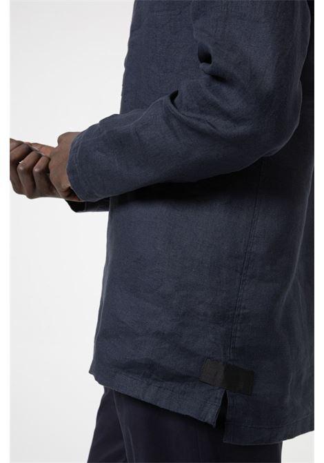 Camicia oversize con colletto Henley in lino tinto in capo HUGO | Camicie | 50450760405