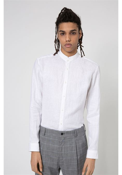 Extra slim fit washed linen shirt with Korean collar HUGO | Shirts | 50450761199