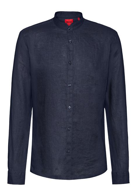 Extra slim fit washed linen shirt with Korean collar HUGO | Shirts | 50450761405