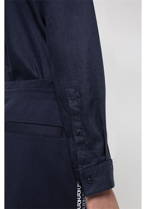 Camicia extra slim fit in lino lavato con colletto coreano HUGO | Camicie | 50450761405