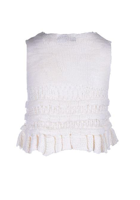 Top crochet con balze in lino panna JUCCA | Maglieria | J3311045045