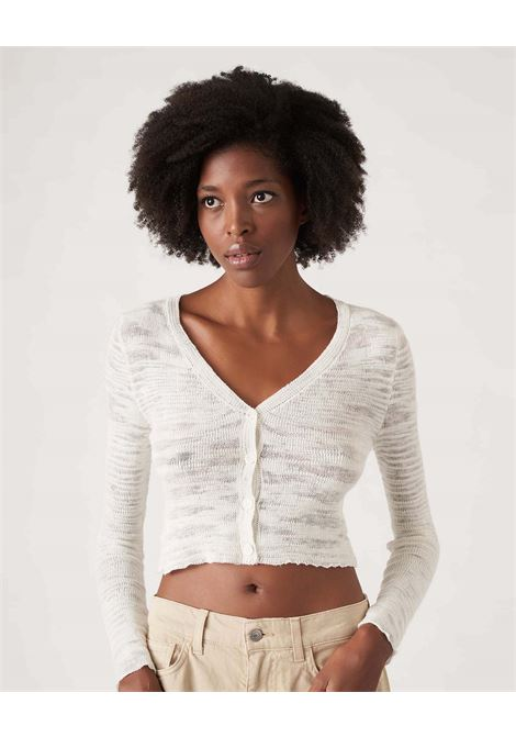 Giacchina crochet corta in lino panna JUCCA | Maglieria | J3311047045