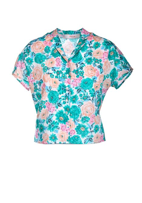 Short shirt in floral patterned cotton JUCCA | Shirts | J3312027061