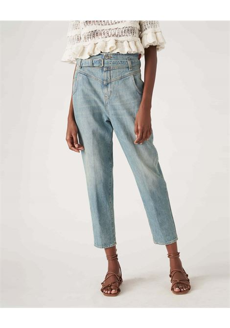 High waisted jeans with light bleach belt JUCCA | Jeans | J3314016/200/L002999