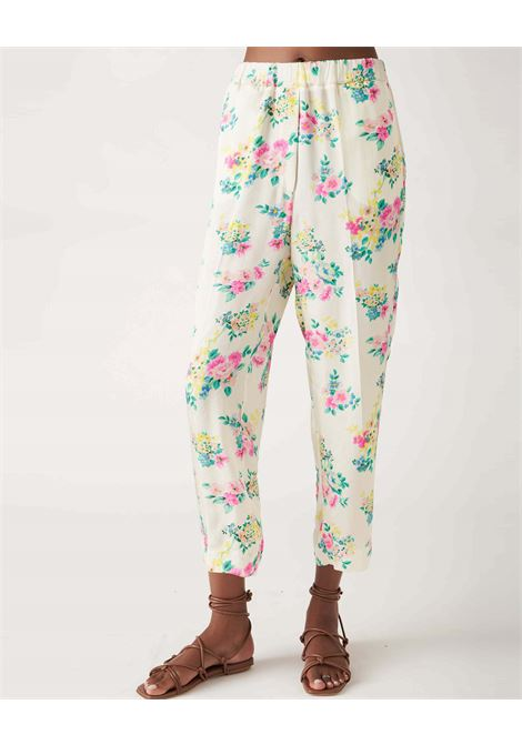 Capri pants in floral patterned crepe JUCCA | Pants | J3314025061