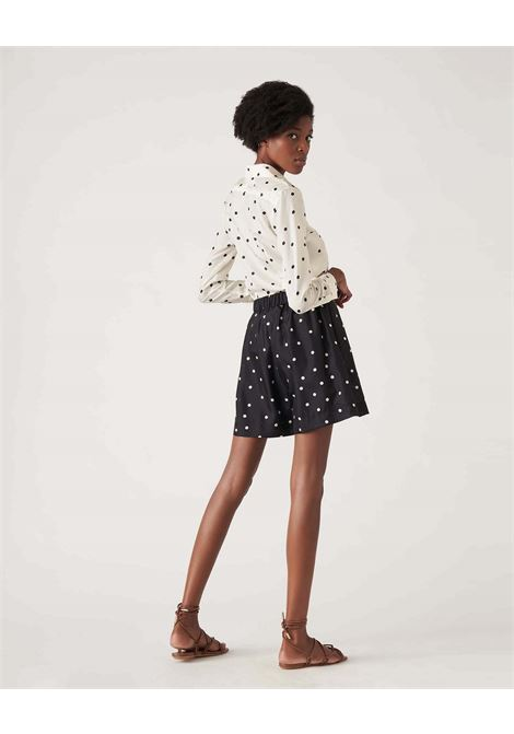 Shorts in seta nera a pois a vita alta JUCCA | Shorts | J3314029003