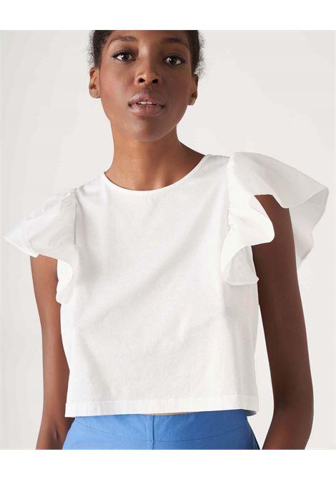 Cotton T-shirt with poplin cap sleeves JUCCA | T-shirt | J3318010001