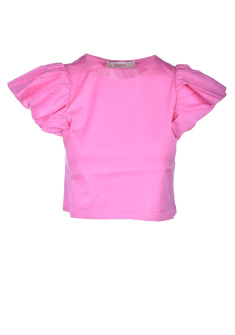 Cotton T-shirt with poplin cap sleeves JUCCA | T-shirt | J33180101701