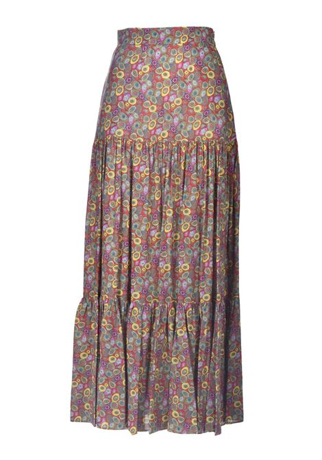 Long satin skirt with multicolor patterned flounces M MISSONI | Skirts | 2DH00209/2W007AS40EK