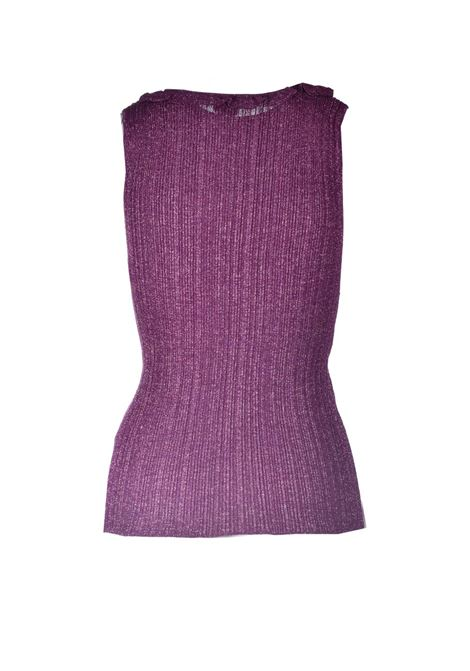 Purple ribbed lurex jersey tank top M MISSONI | Tops | 2DK00094/2K009CL501H