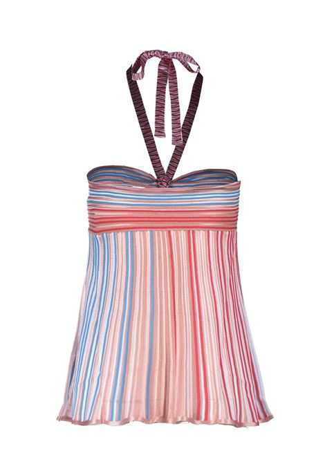 Bandeau top in knitted multicolour lamé stripe M MISSONI | Tops | 2DK00096/2K0099S00I0