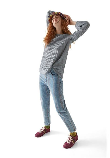 Silver lamé ribbed crewneck sweater M MISSONI | Knitwear | 2DN00344/2K008YL903T